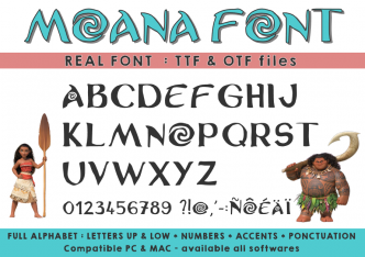 Moana font at ttf format in instant download - Police d'écriture Vaiana au format ttf